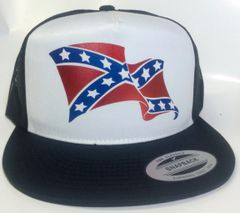 CURLED WAVE ELECTRIC REBEL FLAG TRUCKER HAT