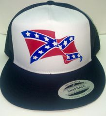 CURLED WAVE STANDARD VINYL REBEL FLAG TRUCKER HAT