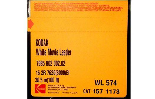 Kodak 'Classic' White Acetate Movie Leader - 16mm Double Perf. 100ft. (Original Factory Packaging)