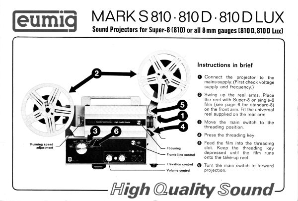 Instruction Manual: Eumig Mark S 810 - 810D - 810D LUX Projector