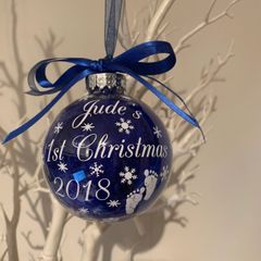 1st Christmas Baby Feet Bauble (Feather Filled)