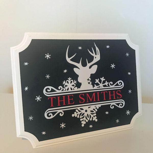 Personalised Snowflake Reindeer Sign