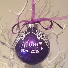 Memorial Wings Bauble (glitter)