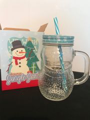 Snowman Glass Mason Jingle Jar