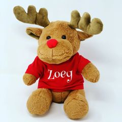 Personalised Plush Reindeer (Choice of Colours)