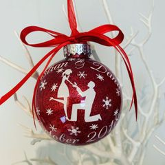 Personalised Engagement Glitter Bauble