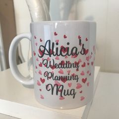 Personalised Hearts Wedding Planning Mug