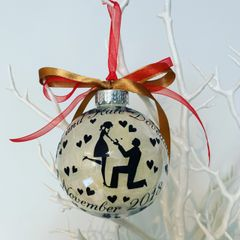Personalised Engagement Feather Bauble