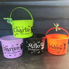 Personalised Halloween Bucket (choice of colour & design)