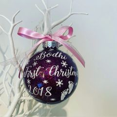 First Christmas baby feet bauble (glitter)