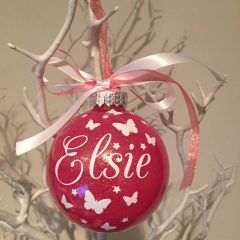 Butterfly Themed Glitter Christmas Bauble