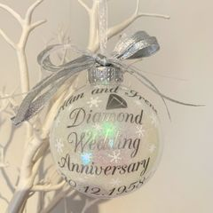 Diamond Wedding Anniversary Bauble