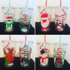Personalised Christmas Cup & Straw