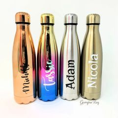 Personalised Stainless Steel Drinking Bottle for hot and cold drinks