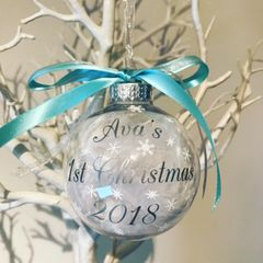 Personalised 1st Christmas Feather Bauble