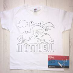 Personalised Dinosaur Colouring T'Shirt