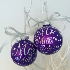 Personalised mr and mrs baubles (set of 2)
