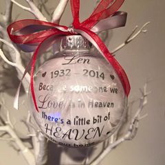 Heaven Memorial Feather Bauble with Dates