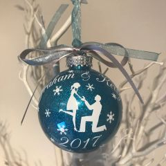 Personalised Glitter Engagement Bauble