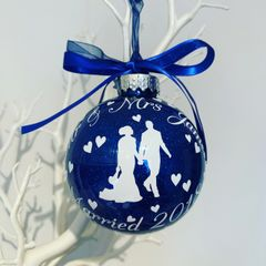 Just Married Wedding Bauble (Glitter)