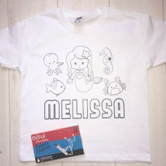 Personalised Mermaid Colouring In T'Shirt