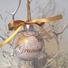 Personalised Feather Memorial Wings Bauble