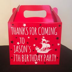 Personalised Pirate Ship Birthday Party Favour Boxes (Choice of Colours)