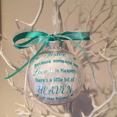 Heaven Verse Memorial Feather Bauble
