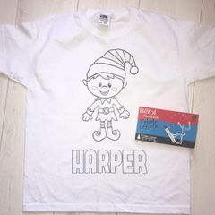 Personalised Christmas Elf Colouring T'Shirt