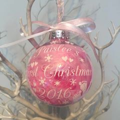 1st Christmas feather filled baby feet bauble