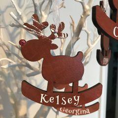 Personalised Wooden Reindeer Hanging Ornament