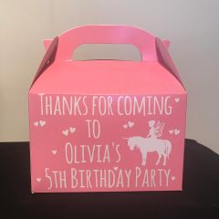 Personalised Unicorn Favour Party Boxes (Choice of Colours)