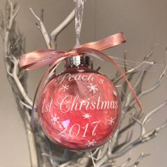 Personalised 1st Christmas Bauble (Feather)