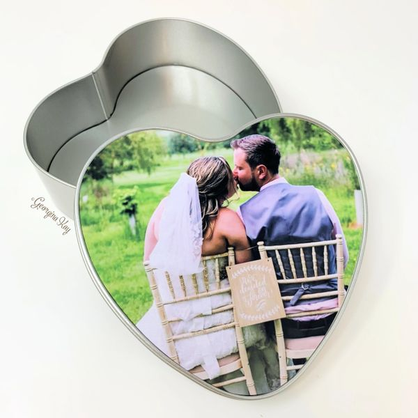Your photo on a Heart Shaped Tin