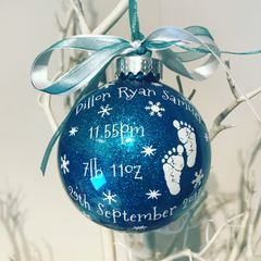 Birth Data Bauble (Glitter)