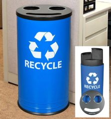 Blue Smiley™ Triple Recycling Receptacle
