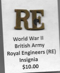 World War II British Royal Engineers (RE) Insignia