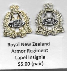 Royal New Zealand Armor Regiment Lapel Insignia