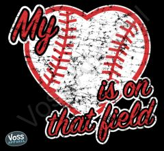 My Heart Is On That Field Baseball Heart Ladies Tee