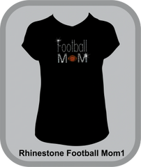 Football Mom Rhinestone Design Tee