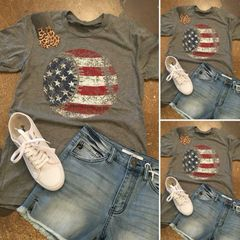 Distressed Baseball Flag Tee