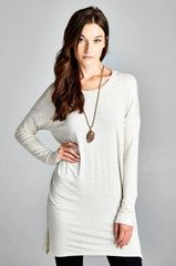 VB-Long Sleeve Solid Tunic Loose Fit Top