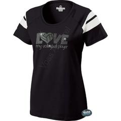 LOVE My Volleyball Player Rhinestone Design - Holloway Ladies Tribute Tee