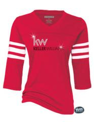 Keller Williams Rhinestone Enza Football Tee-Red