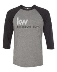 Keller Williams Rhinestone Raglan 3/4 Sleeve Tri-Blend-Grey