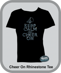 Keep Calm & Cheer On Rhinestud T-Shirt