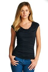 VB-Cowl Neck Top with Ruching