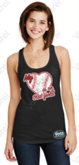 My Heart Is On That Field Baseball Heart Ladies Tank