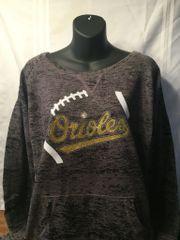 Orioles Glitter & Rhinestone Burnout Wideneck Crew Sweatshirt
