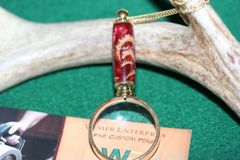 Handcrafted Acorn Hulls in Dark Red Pearl Acrylic Mini Magnifying Glass Pendant in a Bright 24 ct Gold Finish